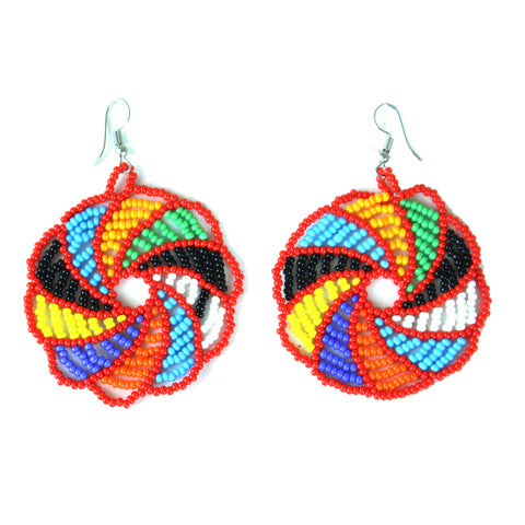 Hand-crafted Maasai Rainbow Spiral Earrings