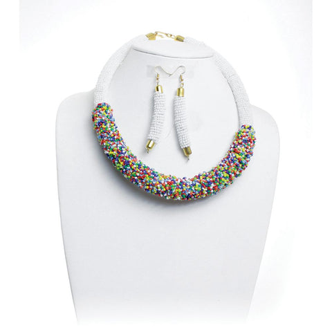 Oversized Maasai Beaded Choker & Earring Set