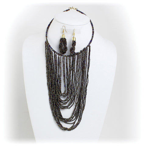 Beaded Draped Choker & Earring Set