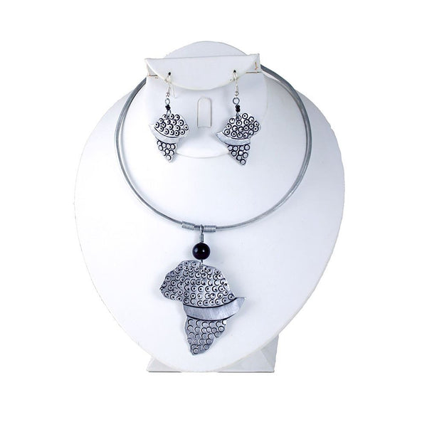 Kenyan Metal Choker Necklace & Earring Set