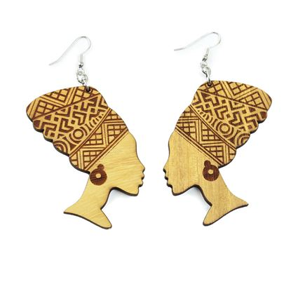 Natural Wood African Queen Earrings