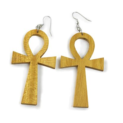 Natural Wood Ankh Earrings