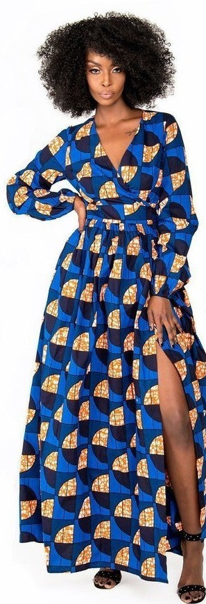 Palesa Blue Luxury Wrap Maxi Dress