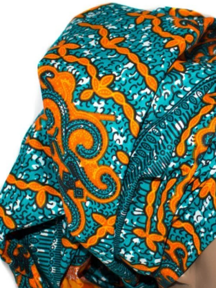 African Print Headwrap - Orange Turquoise Abstract