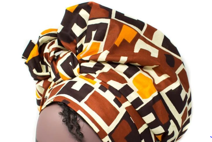 African Print Headwrap - Traditional Kuba Print