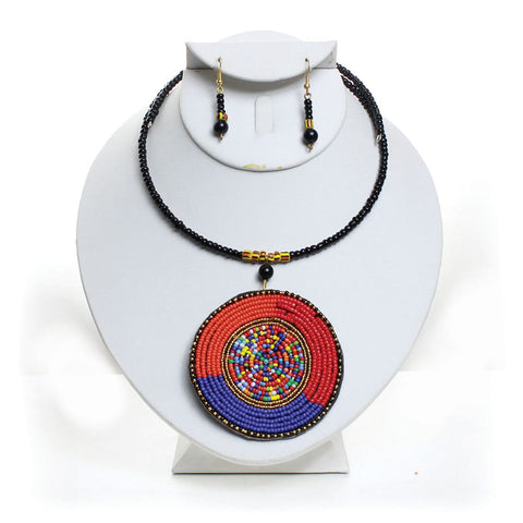 Maasai Oversized Pendant Choker & Drop Earring Set