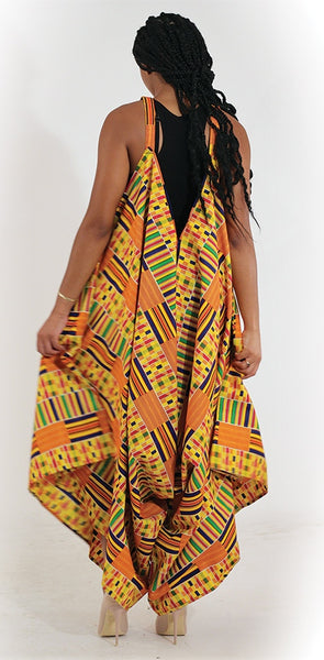 Ladies Luxury African Print Wide Leg Jumpsuit