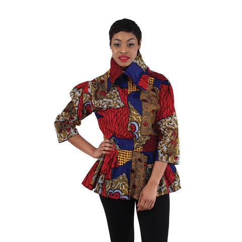 Ladies Zippered Front African Print Top