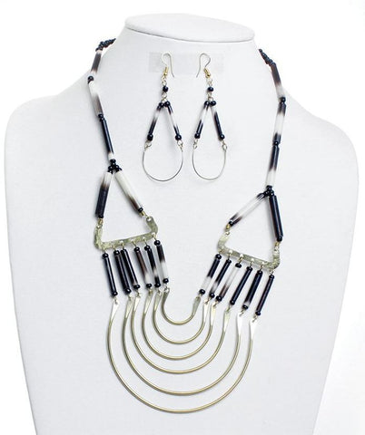 Kenyan Porcupine Quill Necklace and Earring Set