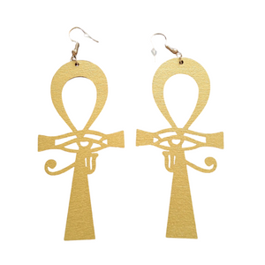 Oversized Golden Ankh Earrings