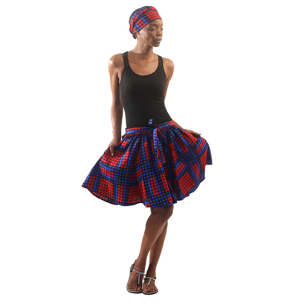 Assorted African Print Mini Skirt with Matching Scarf