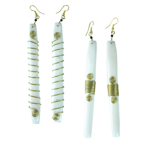 Set of 2 Handcrafted Bone and Brass Earrings