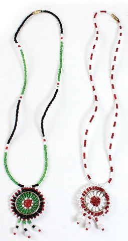 Set of 2 Maasai Beaded Pendant Necklaces with Mini Cowry