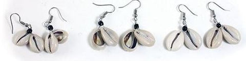 Set of 3 Cowry Shell Earrings
