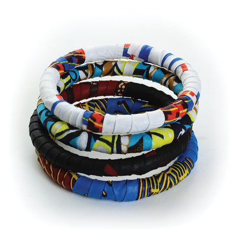 Set of 4 Kitenge Bangle Bracelets