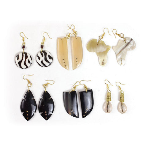 Set of 6 Handcrafted Bone Earrings