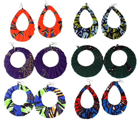 Hand-crafted Kitenge Earrings (Set of 6)