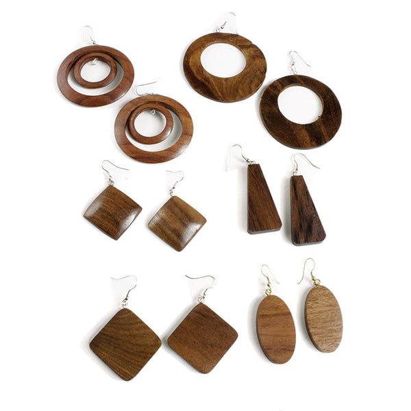 Set of 6 Wooden Earrings