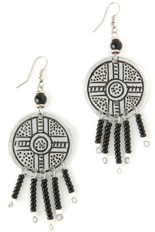 Engraved Tribal Beaded Earrings