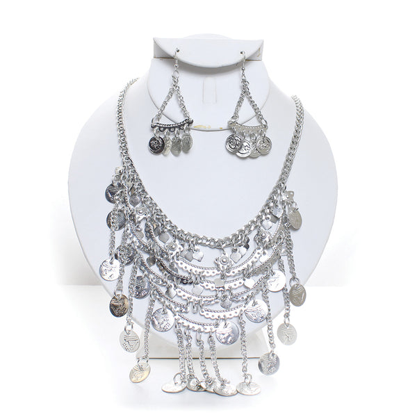 Engraved Coin Medallion Necklace and Earring Set