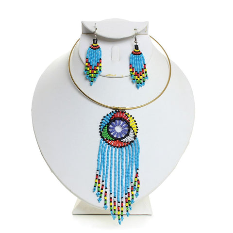 Maasai Beaded Fringed Sky Goddess Choker & Earring Set