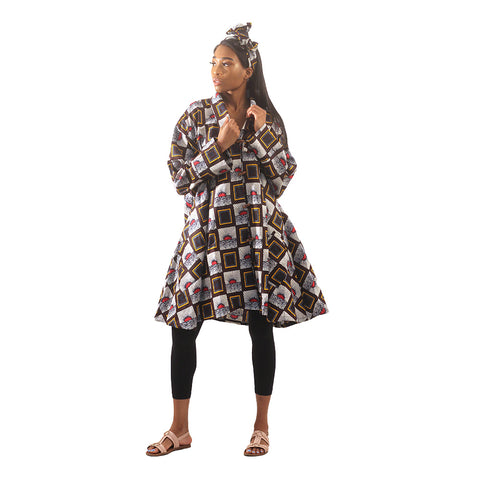 Ladies African Print A-Line Trumpet Sleeve Swing Shirt