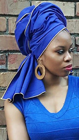 African Print Headwrap - Solid with Gold Trim