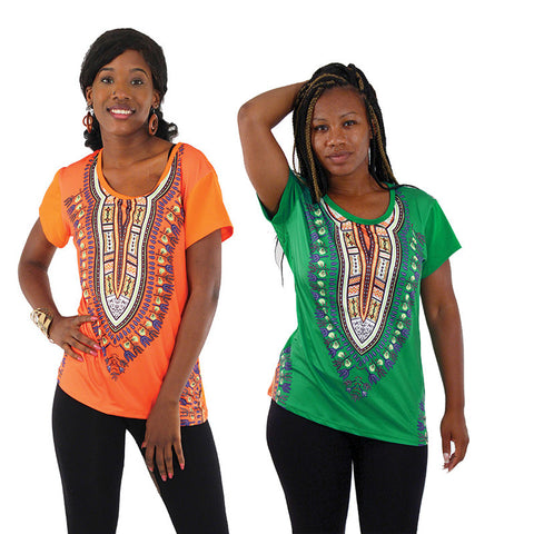 Ladies Traditional Dashiki Print Tee