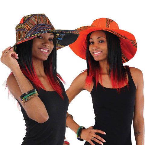 Kente or Traditional Print Wide Brim Sun Hat