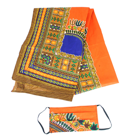 Tangerine Traditional Print Headwrap & Mask Set