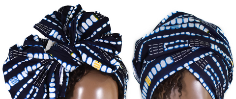 African Print Headwrap - Indigo Abstract
