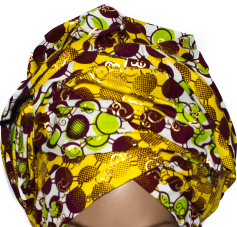African Print Headwrap - Brown Metallic Circle Abstract