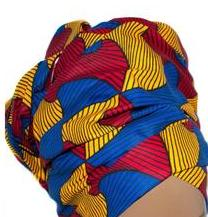 African Print Headwrap - Blue Geo Abstract