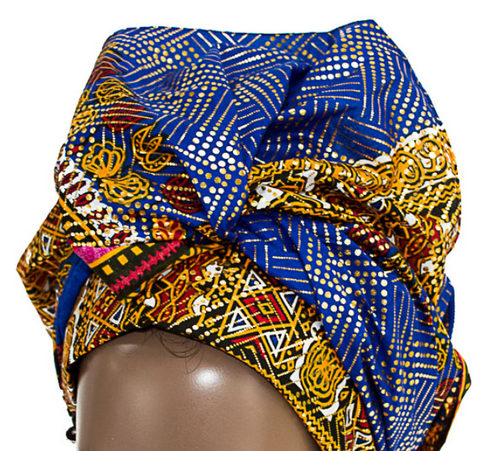 African Print Headwrap - Gold Metallic Traditional Abstract