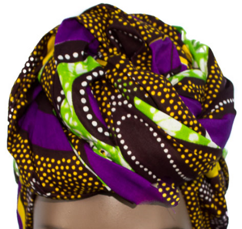 African Print Headwrap - Purple Lime Polka Dot