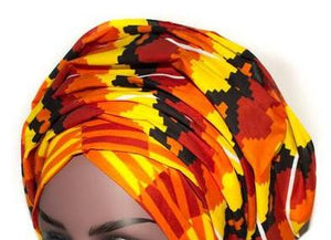 African Print Headwrap - Sunset Sky