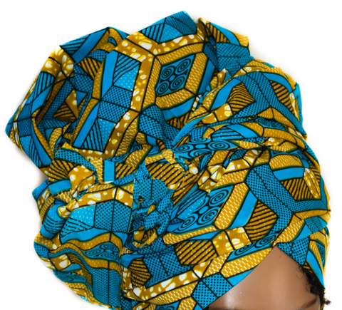 African Print Headwrap - Turquoise Abstract