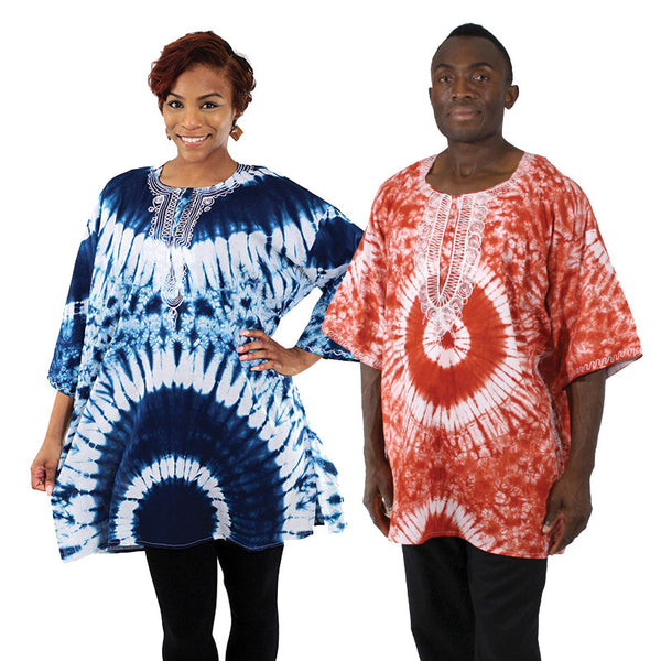 Unisex Tie-Dye Embroidered Dashiki