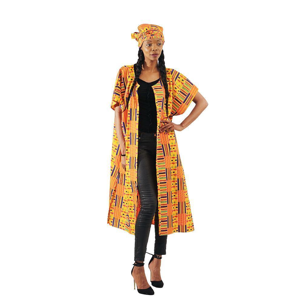 Ladies Kente Open Kaftan Duster