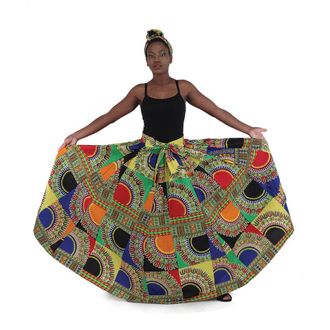 African Multi Patch Traditional Print Maxi Skirt with Matching Scarf