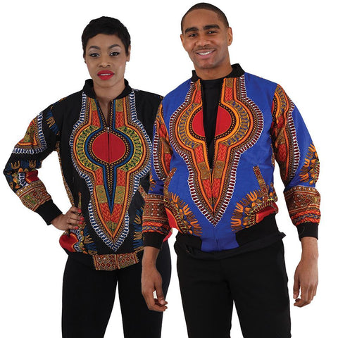 Unisex Traditional African Print Bomber Jackets
