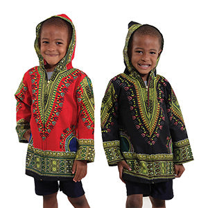 Children's Traditional Print Zippered Dashiki Hoodie
