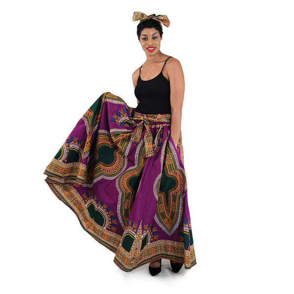 Traditional Print Full Maxi Skirt