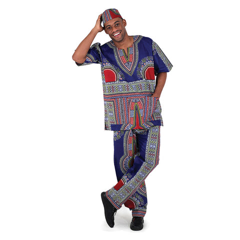 Men's Traditional Print Pant Set with Kufi