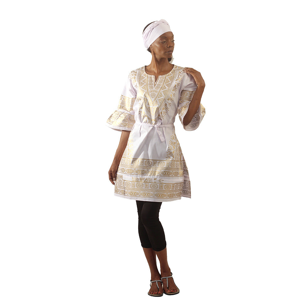 Ladies Ruffle Sleeve Traditional Gold Print Tunic