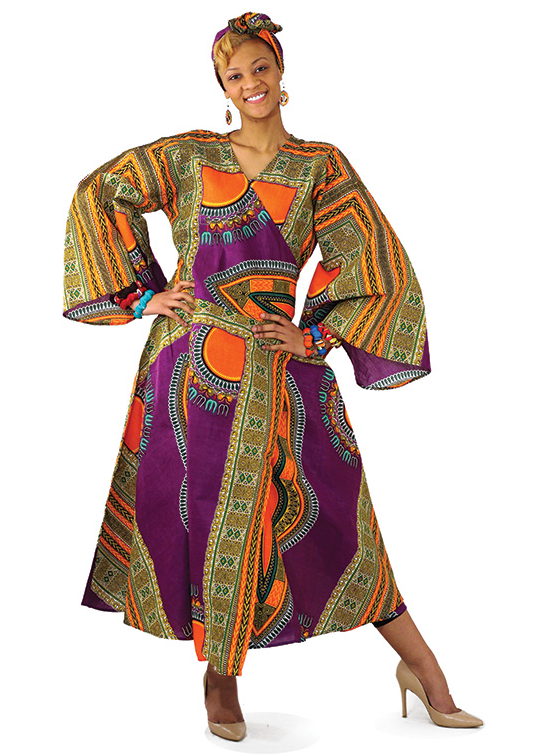 Traditional African Print Wrap Dress