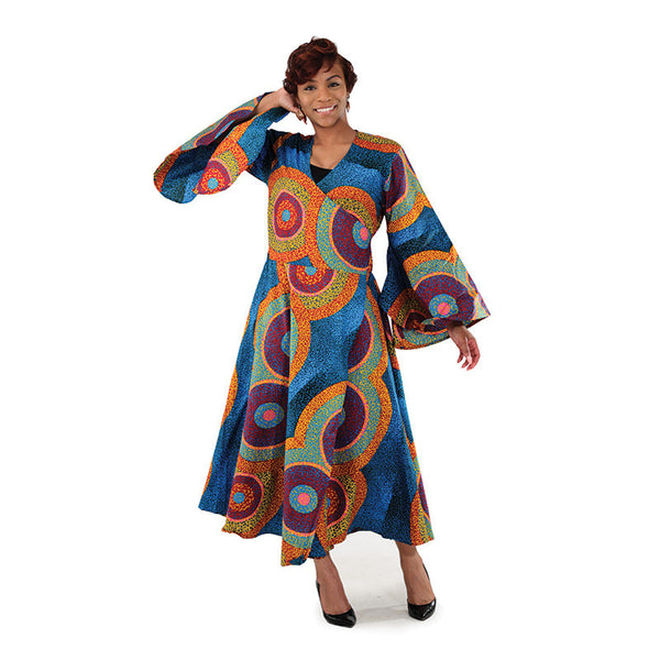 African Abstract Circle Print Wrap Dress