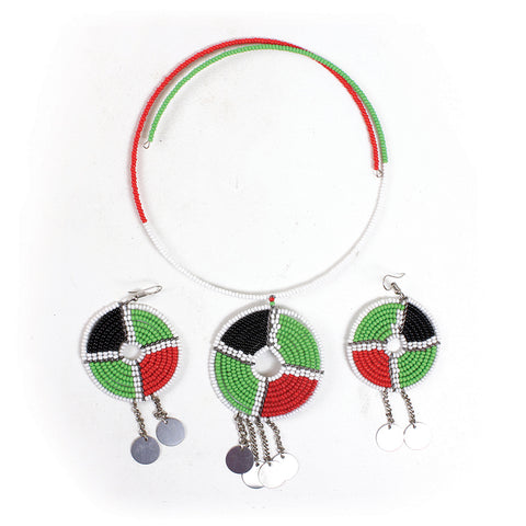 Traditional Maasai Pan African Choker & Earring Set
