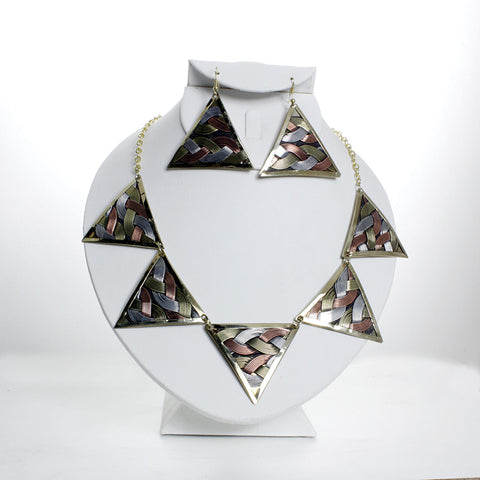 Oversized Triangle Brass Pendant Necklace and Earring Set