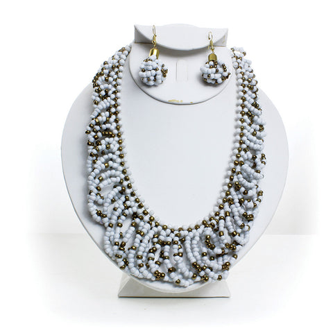 White and Gold Beaded Necklace & Earring Set
